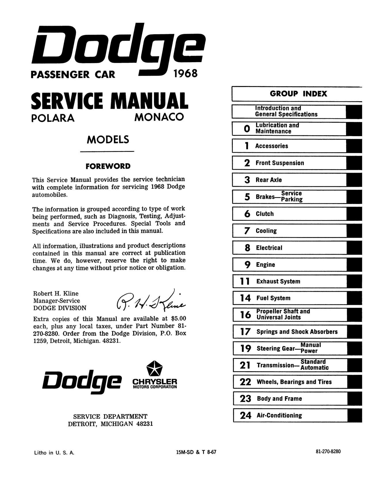 1968 Dodge Polara, Monaco, 500 Repair Shop Manual