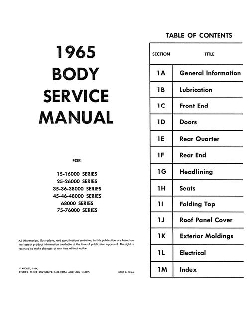 1965 Chevy, Chevelle, Chevy II Corvair Body Service Manual