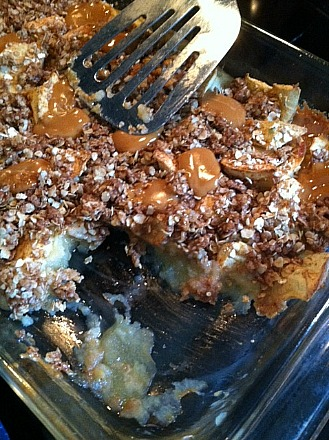 Caramel Apple Crisp hot from the oven