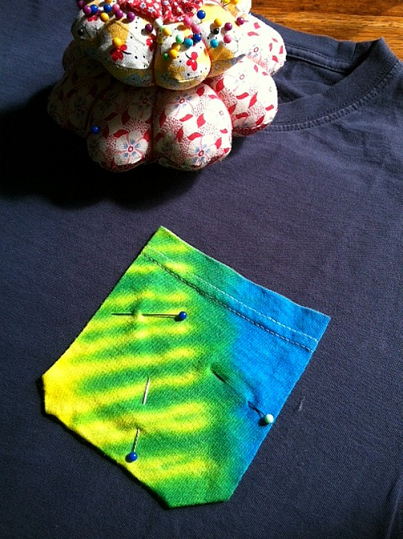 Tie Dye Pocket Pinned On
