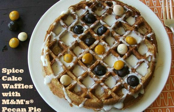 Delicious Spice Cake Waffles with M&M's® Pecan Pie