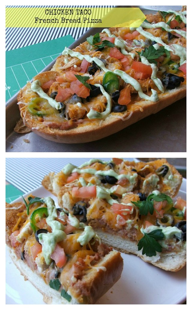 Chicken Taco French Bread Pizza #GameDayFavs