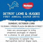 No Baby Unhugged Diaper Drive and Detroit Lions