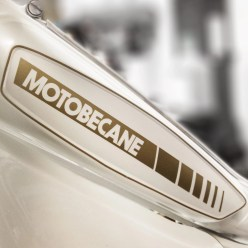 Motobecane tank decal reproduction in custom gold without backing.