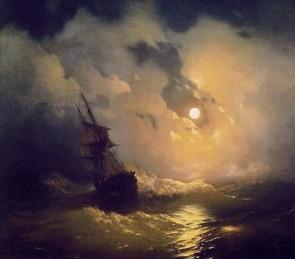 Описание картины И. К. Айвазовского «Буря на море ночью»