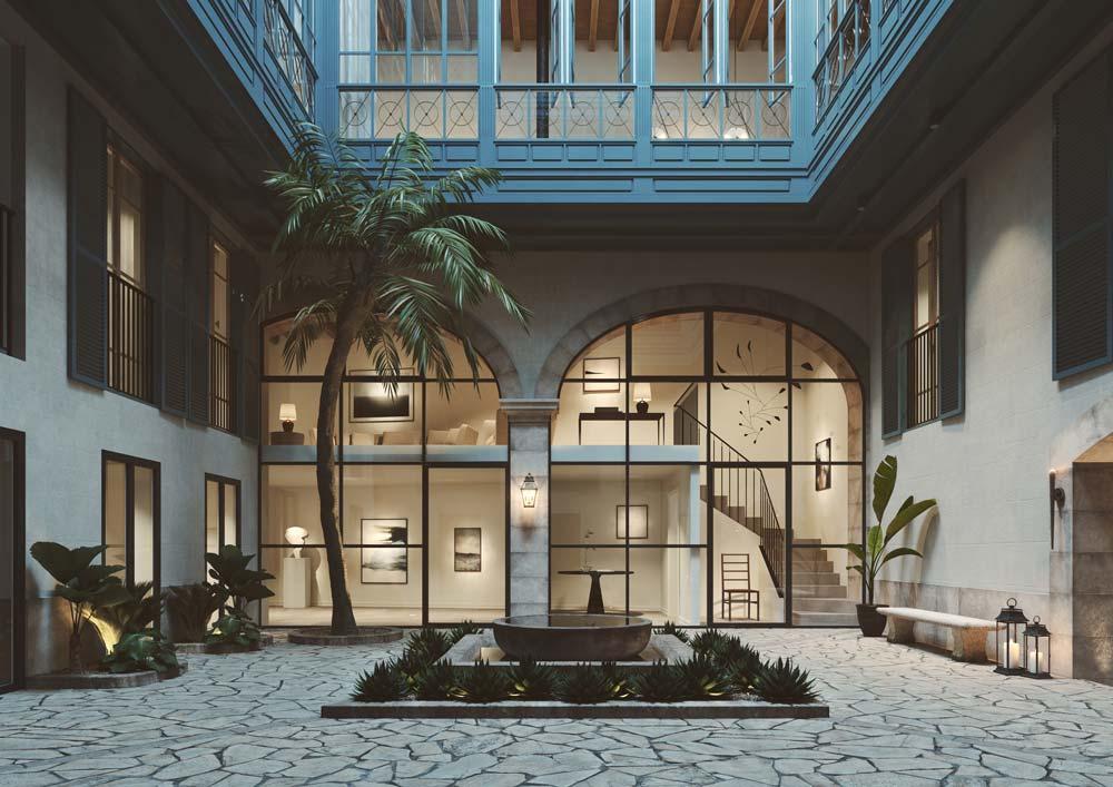 cortile interno residenza di lusso