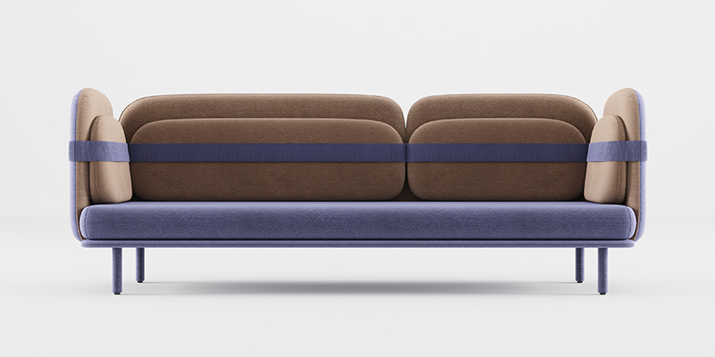 divano imbottito marrone e blu