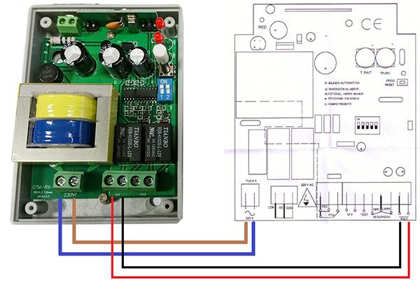 Esquema típico de conexión de receptor de garaje