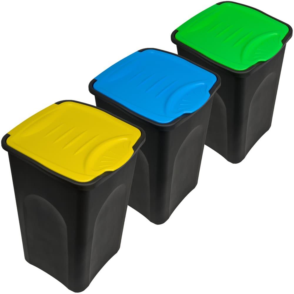 lot de 3 poubelles de recyclage couvercle automatique 50 litres