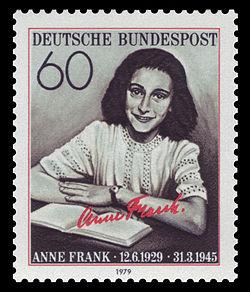 Anne Frank auf einer Briefmarke der Deutschen Bundespost