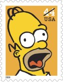 Homer Simpson auf Briefmarke