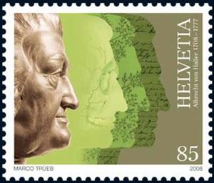 Schweizer Sondermarke von 2008 zum 300. Geburtstag Albrecht von Hallers