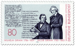 Jacob und Wilhelm Grimm auf Briefmarke zum Germanistenkongress 1985 in Göttingen