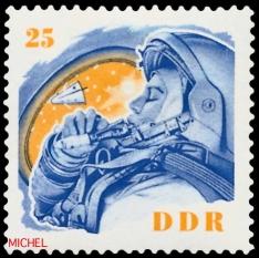 Valentina Tereschkova in der Raumkapsel, MiNr. 996 (alle Abb. Schwaneberger Verlag).
