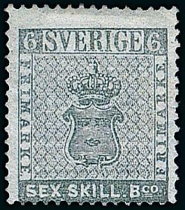 Sex Skilling Banco Briefmarke aus Schweden