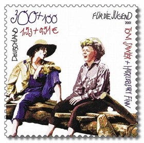 Tom Sawyer und Huckleberry Finn auf Briefmarke