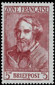 Heinrich Heine auf Briefmarke aus Frankreich