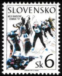 slowakische Briefmarke Biathlon