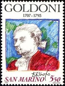 Carlo Goldoni gezeichnet von Dario Fo auf Briefmarke von San Marino