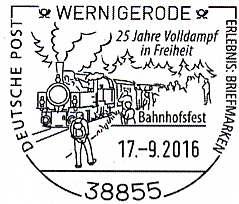 Sonderstempel Bahnhofsfest Wernigerode