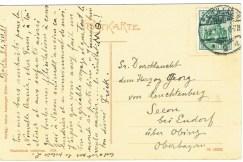 Herzog Georg von Leuchtenberg residierte in Seeon am Chiemsee, als ihn 1911 die Postkarte erreichte.