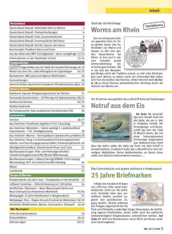 Deutsche Briefmarken Zeitung DBZ Titel Reichstag Worms Rhein