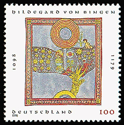 Sondermarke mit einer Miniaturmalerei Hildegard von Bingens, MiNr.: 1981.