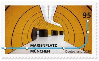 Briefmarke Deutschland U-Bahn-Station Marienplatz