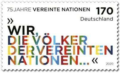 Briefmarke Vereinte Nationen UNO-Jubiläum