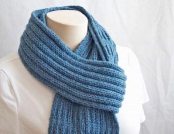 Knitting Pattern Scarf Blue Mist Scarf