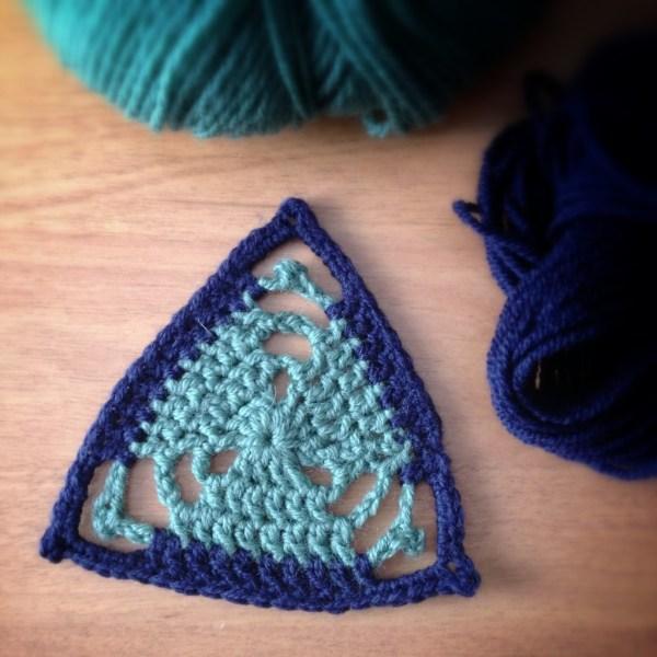 Blue And Green Triangular Crochet Motif