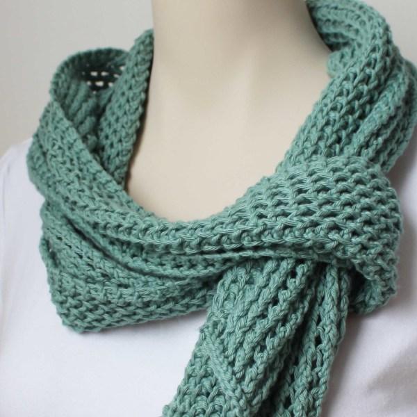 Knitting Pattern Green Cotton Scarf