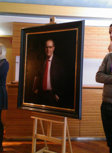 Framed painting at the unveiling