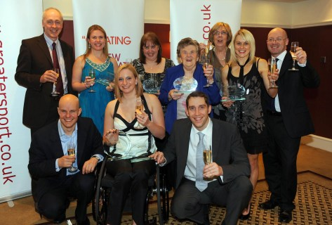 The six award winners celebrate their success with a glass of chapagne at the Greater Manchester Sports Awards at the Midland Hotel in Manchester on 27/03/09. Copyrighted Work Clint Hughes Photography 66 Linden Grove Hoole Chester CH2 3JY 07966 037129