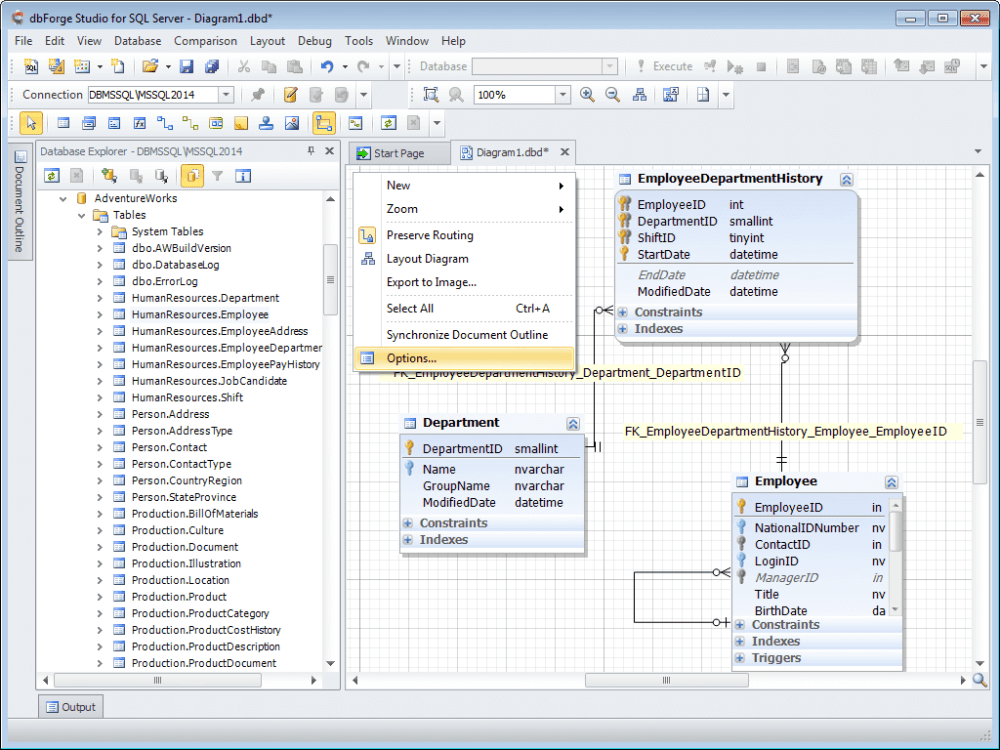 medium resolution of you can create a new sql server database diagram simply dragging your database objects from database explorer to the diagram your new sql database diagram