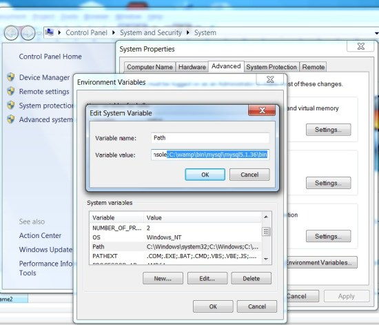 Fixing 'mysql' is not recognized as an internal or external command in Windows7