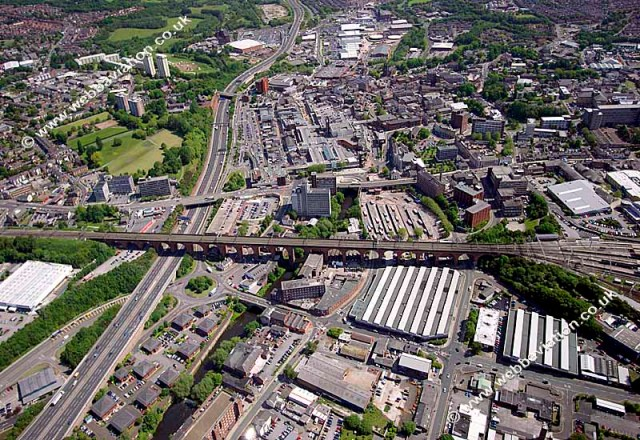 A picture taken of birds eye view of Stockport