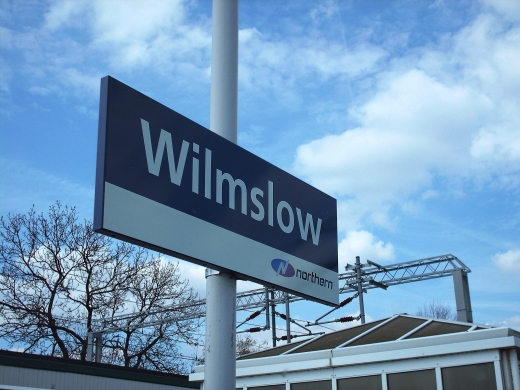 A photograph of a sign depicting the area known as Wilmslow