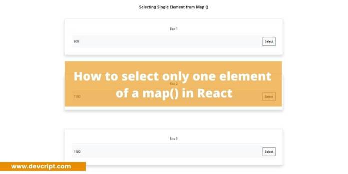 How to select only one element of a map() in React
