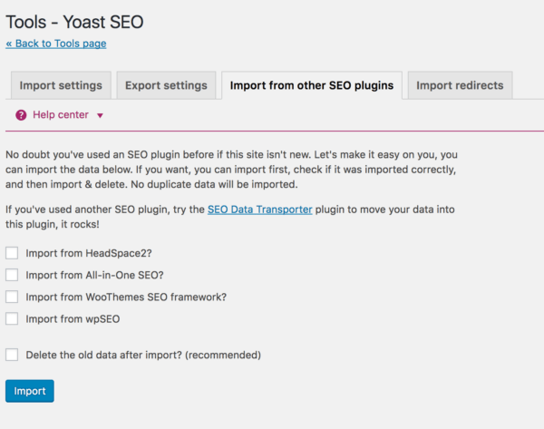 Import from other SEO plugins