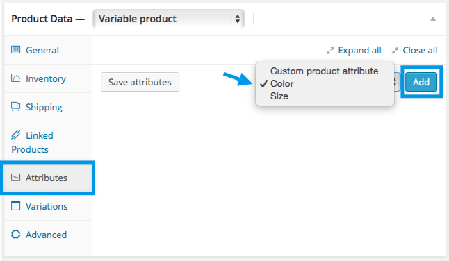 Adding Attributes to Products