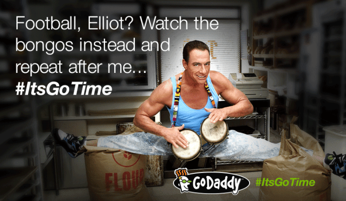 Football Elliot Watch the bongos instead and repeat after me Its Go Time Godaddy Meme