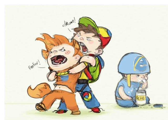 Chrome Vs Firefox While Internet Explorer Eats Glue Developer Memes