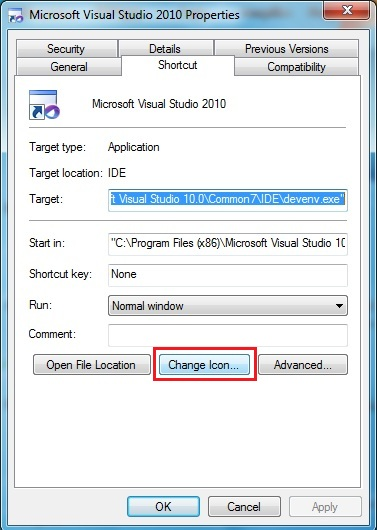 Changing the Visual Studio 2010 Icon in the Start Menu