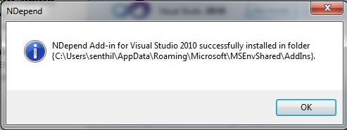How to Install NDEPEND AddIn to Visual Studio 2010?