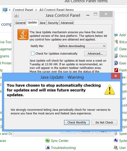 How to Disable Java Automatic Updates in Windows 8?