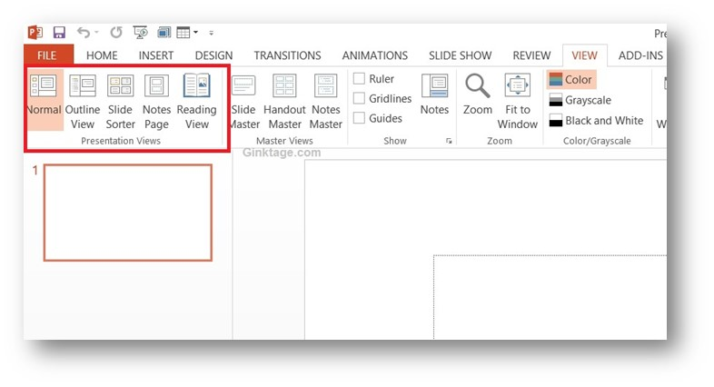 How to Change Presentation Views in Microsoft PowerPoint 2013?