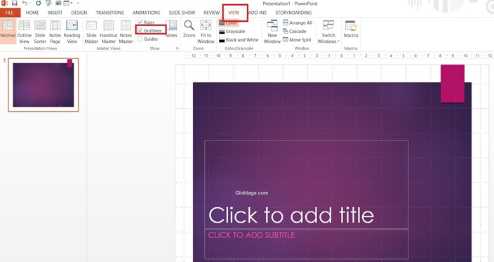 How to Enable Gridlines in Microsoft PowerPoint 2013?