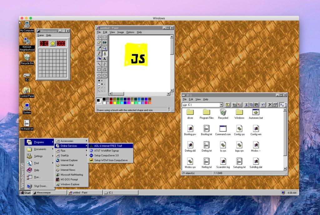 Windows 95 as an Electron App