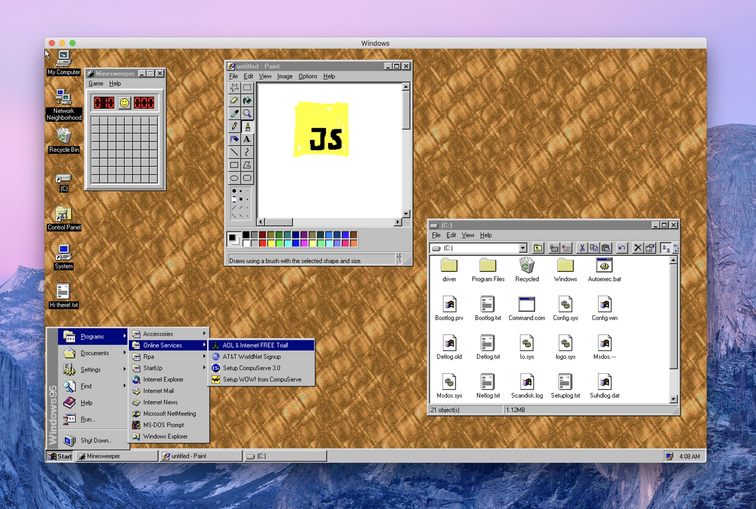 Windows 95 running in Electron